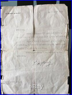Lettre Avec Autographe Du General De Gaulle 1947