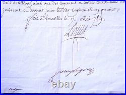 Lettre Signée Louis XVI 1789 Versailles Régiment Militaire Lyon Roi Chastenet