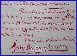 Lettre autographe de Jules Barbey d'Aurevilly à l'écrivain Catulle Mendès