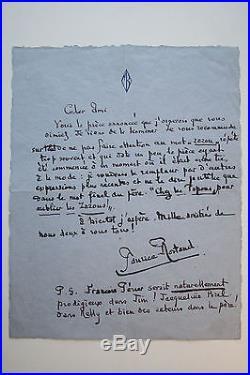 Lettre autographe signée Maurice Rostand XX ème