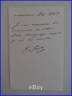 Lettre autographe signée du général de Gaulle, 1969, beau document