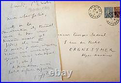 Lettre d'André Breton à Georges Sadoul évoquant Buñuel à l'époque du Chien An
