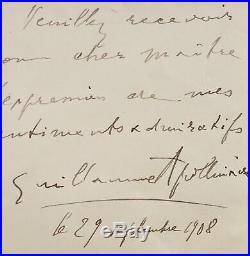 Lettre d'Apollinaire à Gustave Kahn