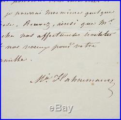 Lettre de Mélanie Hahnemann, précurseur de l'homéopathie