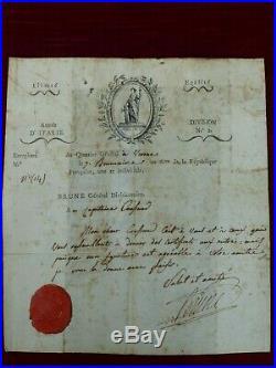 Lettre du Général BRUNE un des premiers Maréchaux de Napoléon Bonaparte