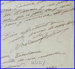 Lettre du couturier Mariano Fortuny