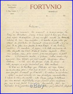 Lettre manuscrite Signé Autographe Marcel Pagnol à Hélène Jung Revue Fortunio