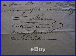 Lettre manuscrite de la Monnoie des Médailles Vivant Denon au graveur Lavy 1806