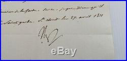 Lettre manuscrite signée par Napoleon 1er en 1811 au duc de Feltre