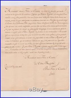 Lettre signée Louis XVIII fermeture fils de soie, cachet aux armes de France