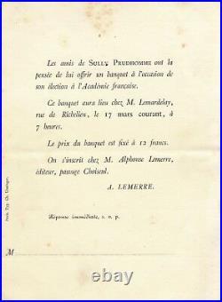 Littérature Sully Prudhomme lettre autographe signée Barracand Lamartine