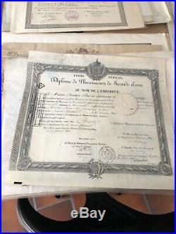 Lot de 130 Diplômes Ancien École, Université, militaire, hippique, musique Etc