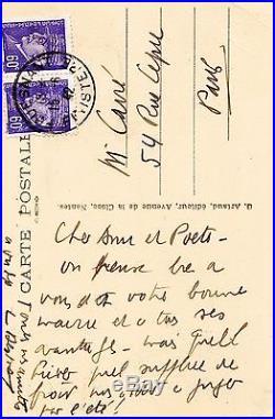 Louis Ferdinand CÉLINE Carte postale autographe signée / 1942 à Quimper