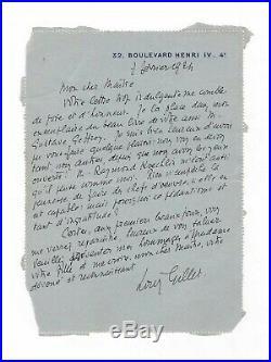 Louis Gillet / Lettre Autographe (1924) / À Claude Monet / Impressionnisme