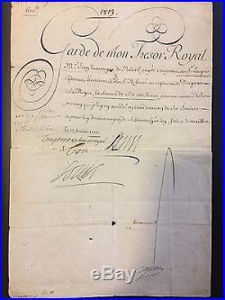 Louis XIV / Document Signé (1710) Avec Mot Autographe / Versailles