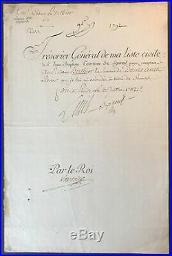 Louis XVI / Pièce signée (1792) / Révolution Française / Tuileries