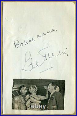 Louis de Funès (1914-1983) Rare authentique page d'album signée + Photo 1956