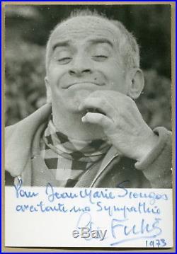 Louis de Funès (1983) Rare authentique photo dédicacée en 1973 Autographe