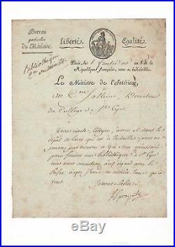 Lucien Bonaparte / Lettre Signée (1800) / Bibliothèque De Saint-cyr