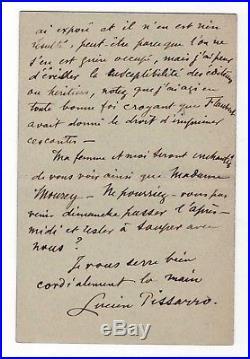 Lucien Pissarro / Lettre Autographe Au Sujet De Ses Illustrations Sur Flaubert
