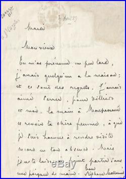 MALLARME Maupassant Villiers poète lettre autographe signée