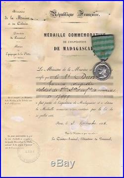 MÉDAILLE COMMÉMORATIVE DE LA 1ére CAMPAGNE DE MADAGASCAR et SON DIPLÔME 1886