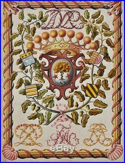 Magnifique dessin héraldique à la gouache du XVIIIe