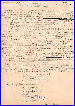 Manuscrit Autographe De Jorge-luis Borges (au Sujet D'evaristo Carriego)