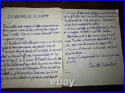 Manuscrit littéraire Camille Mauclair(les bienfaits de la Morte)