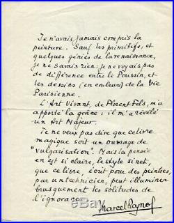 Marcel PAGNOL MANUSCRIT AUTOGRAPHE SIGNE à propos de la PEINTURE et Florent FELS