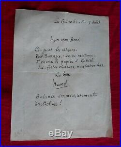 Marcel Pagnol-lettre Autographe Manuscrite Adressée. René Pagnol Frère De Marcel