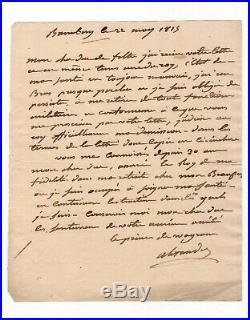 Maréchal Berthier / Lettre Autographe (1815) / Juste Avant Sa Mort / Napoleon