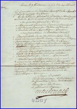 Maréchal Macdonald / Document Signée (1798) / Campagne D'italie / Napoléon