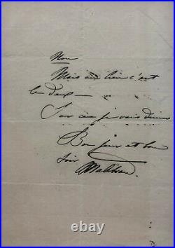 Maria MALIBRAN Joli billet autographe signé