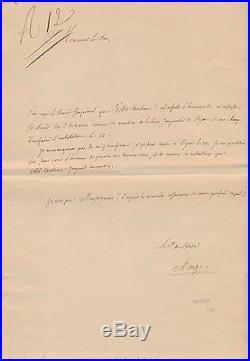 Mathématicien Gaspard Mongede Péluse autographe signée duc de Massa Régnier