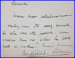 Maurice Leblanc demande l'insertion d'une note
