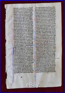 Médiéval Manuscrit Feuille Un Parchemin Vierge Rare France Paris 1250! #b150s