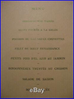 Menu presidentiel art nouveau emile loubet 1903 tunisie guillonnet R F
