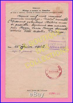 Message CROIX-ROUGE collabo interné par Anglais. Camp Ambatokora MADAGASCAR 1943