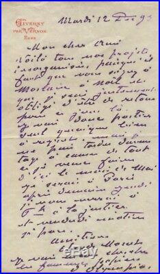Monet Lettre Autographe Signée À Gustave Geffroy 1893