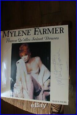 Mylene Farmer Autographe Dedicace De Sa Main Exemplaire Unique sur Maxi 45 Tours