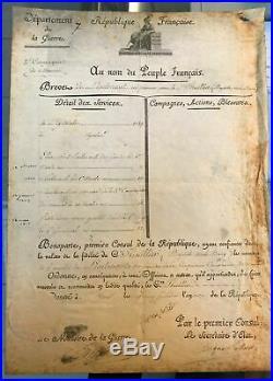 NAPOLEON BONAPARTE BREVET DE LIEUTENANT SIGNE RARE 1er EMPIRE-1803
