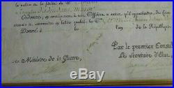 NAPOLEON BONAPARTE BREVET D'ADJUDANT MAJOR SIGNE RARE 1er EMPIRE-1803