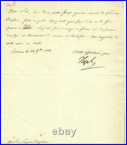 NAPOLEON Bonaparte. Empereur des Français. Lettre Signée à Eugène de Beauharnais