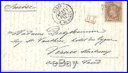 NAPOLEON ENVELOPPE TIMBRE SIEGE DE PARIS 1871 30 CTS Lauré AVEC CERTIFICAT
