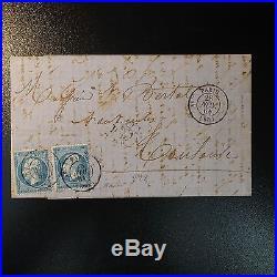 NAPOLÉON N°22 x2 LETTRE CAD 1344 PARIS 4e (60) INCONNU SUR TIMBRE SIGNÉ BAUDOT