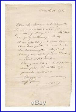 Napoléon III / Lettre Autographe Signée / Tours / Comte La Chapelle