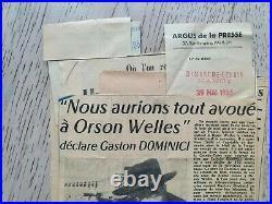 ORSON WELLES Autographe/Lettre/ SUR LE TOURNAGE L'AFFAIRE DOMINICI A. Pol