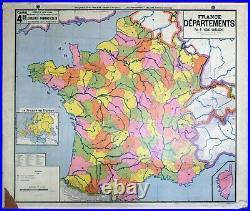 Old map carte scolaire N°4 FRANCE DEPARTEMENT VIDAL LABLACHE datée 1920-1935