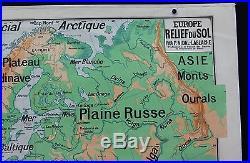 P191 Carte scolaire vintage Lablache Europe relief sol 12 Alpes Karpates Volga